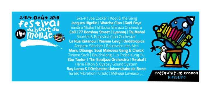 programmation 2013 du programmation Festival du Bout du Monde 2013